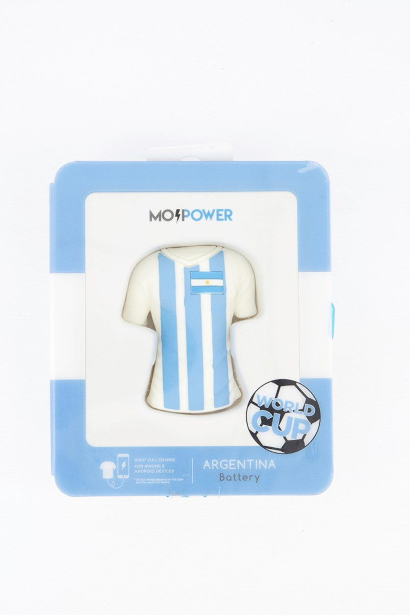 World Cup T-Shirt 2600 mAh Power Bank Argentina, White/Blue