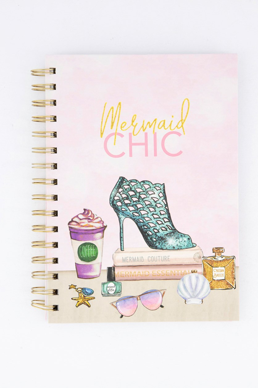 Mermaid Chic Spiral Notebook, Light Pink Combo