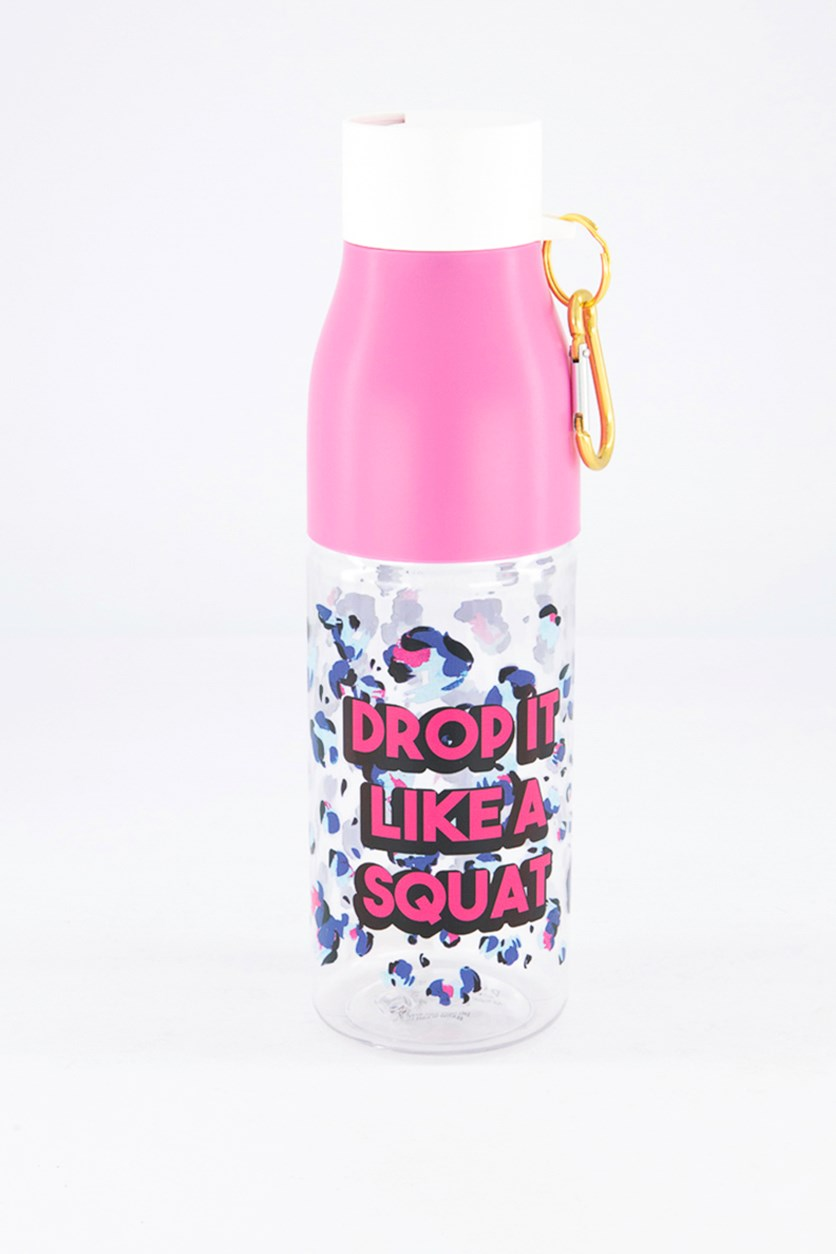Drop It Like A Squat Water Bottle, Pink Combo