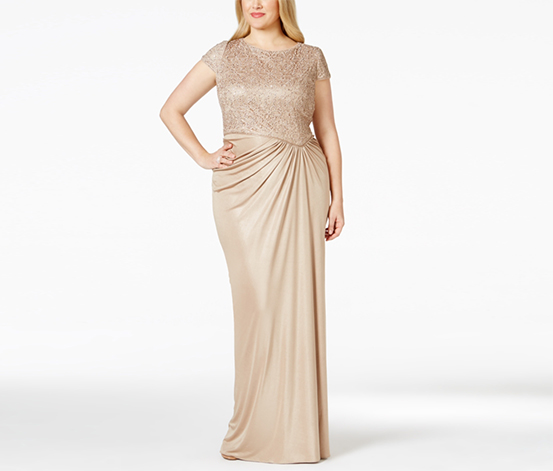 Adrianna Papell Women's Plus Size Embellished Lace Ruched Dress, Gold