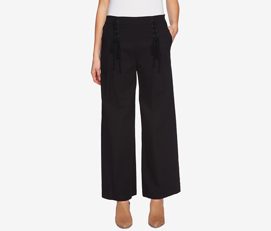 1.state Women's Lace-Up Detail Wide Leg Pants, Black