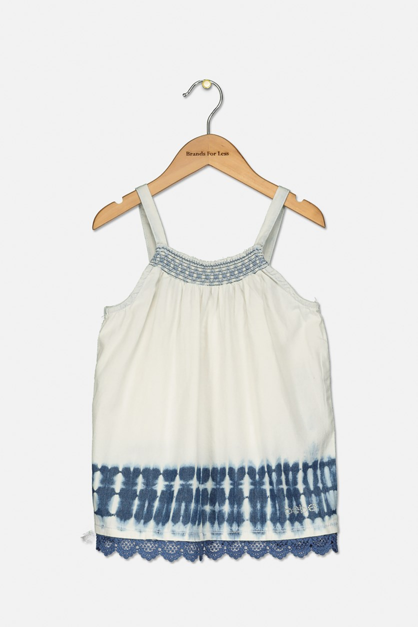 Girls Tie Dye Top, Navy/Ivory