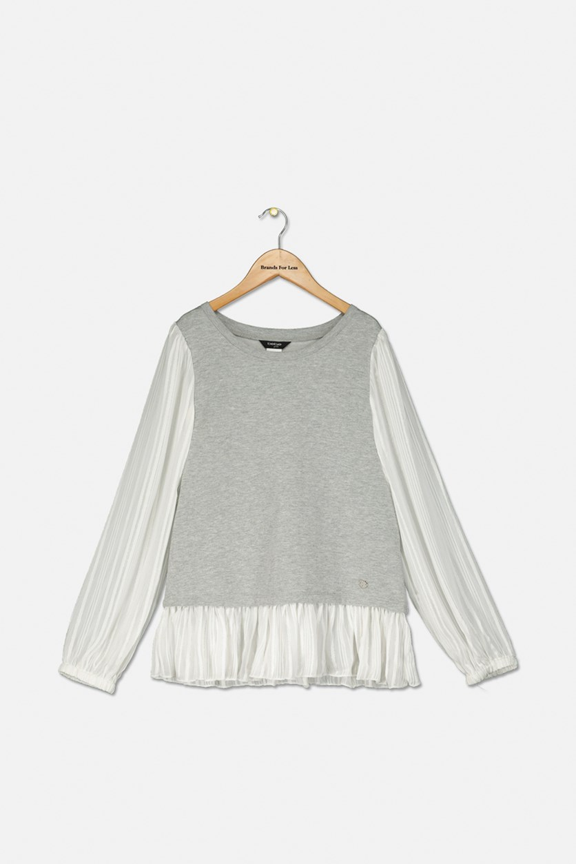 Kid's Girl's Chiffon Top, Grey/White