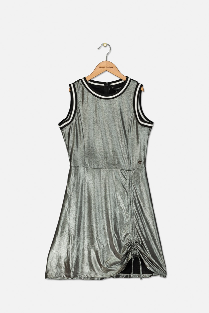 Girl's Metallic Dress, Silver