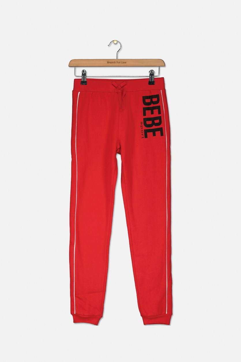 Kids Girls Logo Print Track Pants, Red