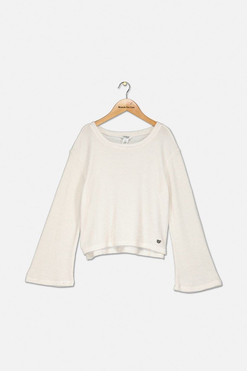 Girls Long Sleeve Sweater, Off White