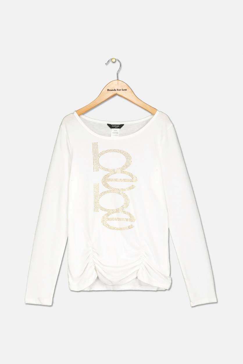 Girls Logo Ruched Top, White