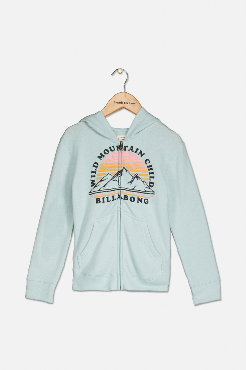 Kids Girl's Zip-up Hoodie, Aqua