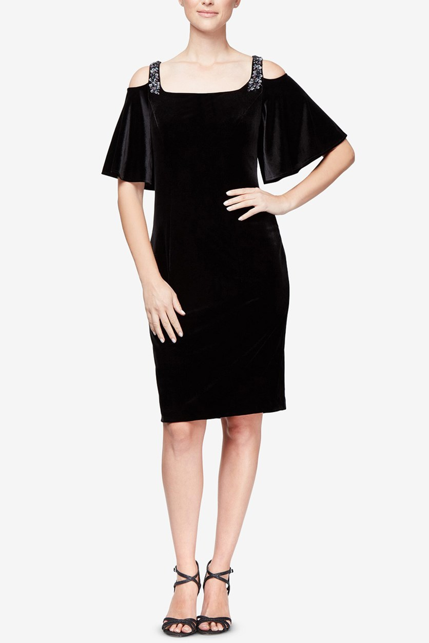 Women's Petite Velvet Cold Shoulder Cocktail Dress, Black