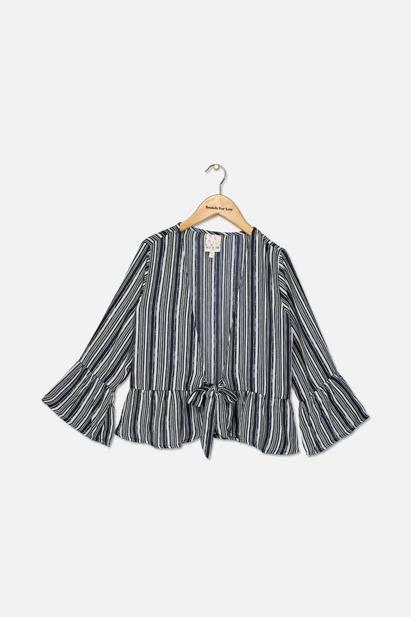 Kids Girls Stripe Top, Navy/White