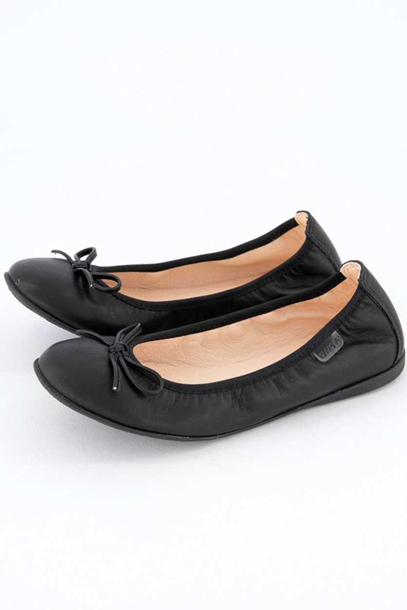 Girls Seta Negro Flat Shoes, Black