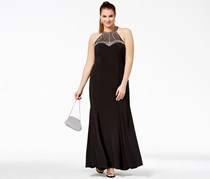 Say Yes To The Prom Trendy Plus Size Embellished Halter Gown, Black