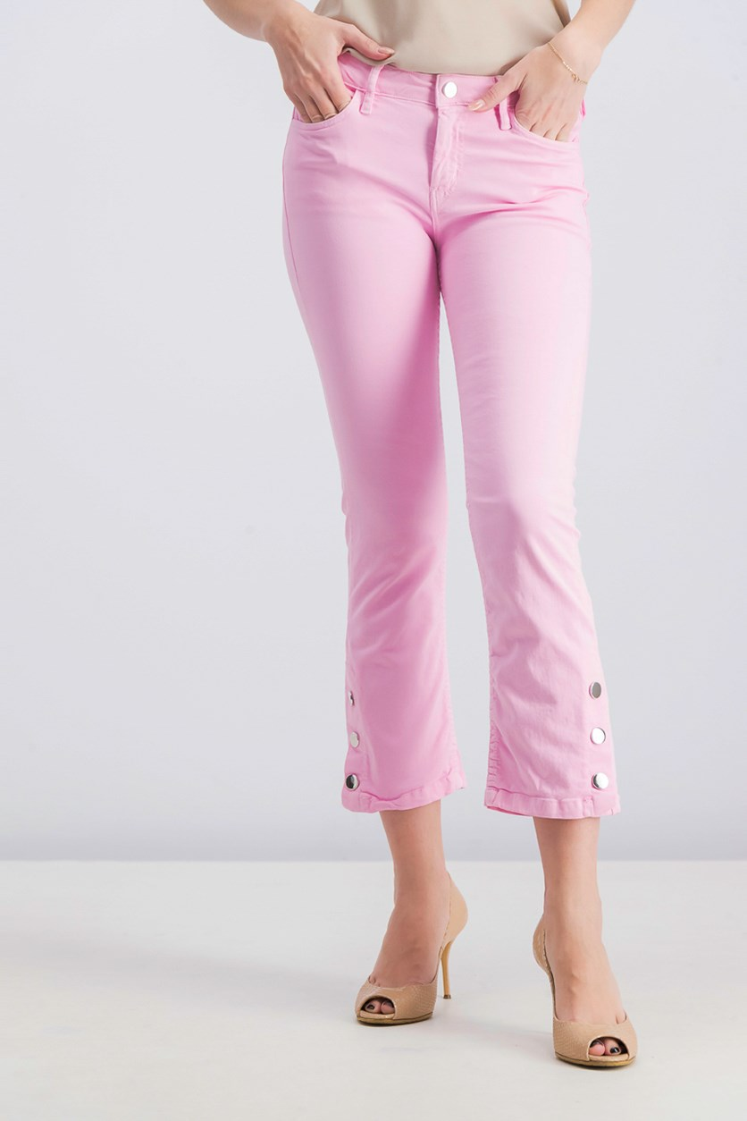 Women Cropped Button Pants, Pink