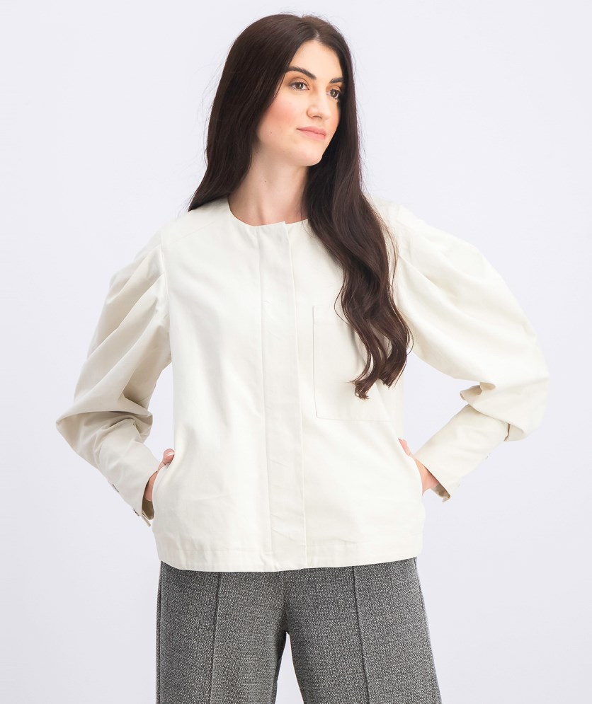 Puffed Sleeves Jacket, Light Beige