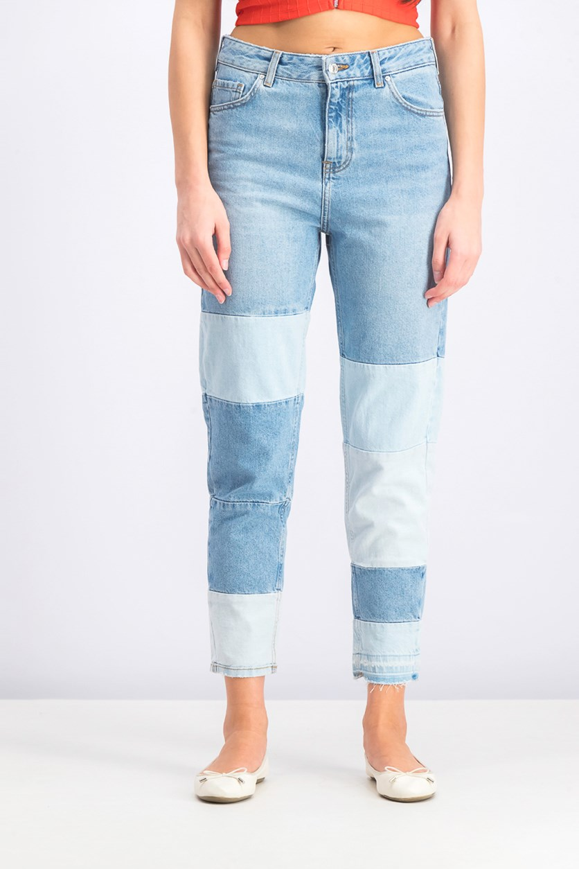 Women's Colorblock Straight Jeans, Washed/Blue