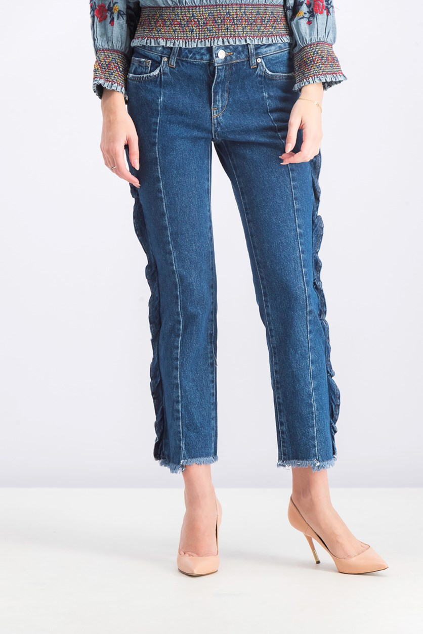 Women's Frayed Hem Jeans, Blue