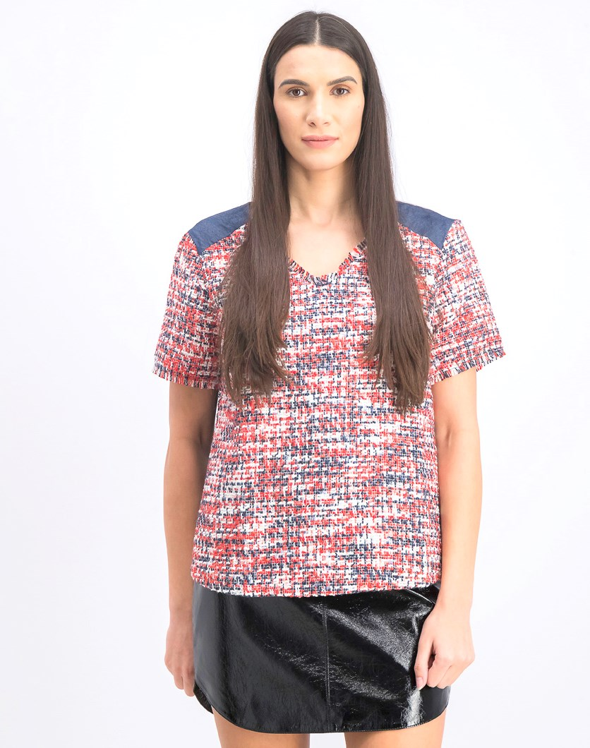 Women's Textured Top, Red/Navy