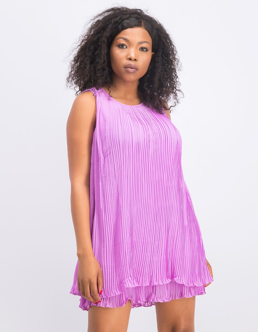 Women's Flared Pleated Dress, Purple