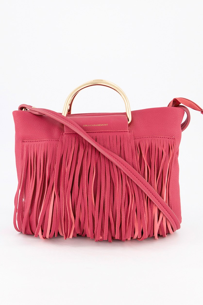 Women's Fringe Crossbody Bag, Fuchsia