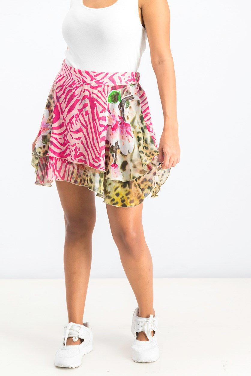 Women's Allover Print Layered Skirt, Pink Combo