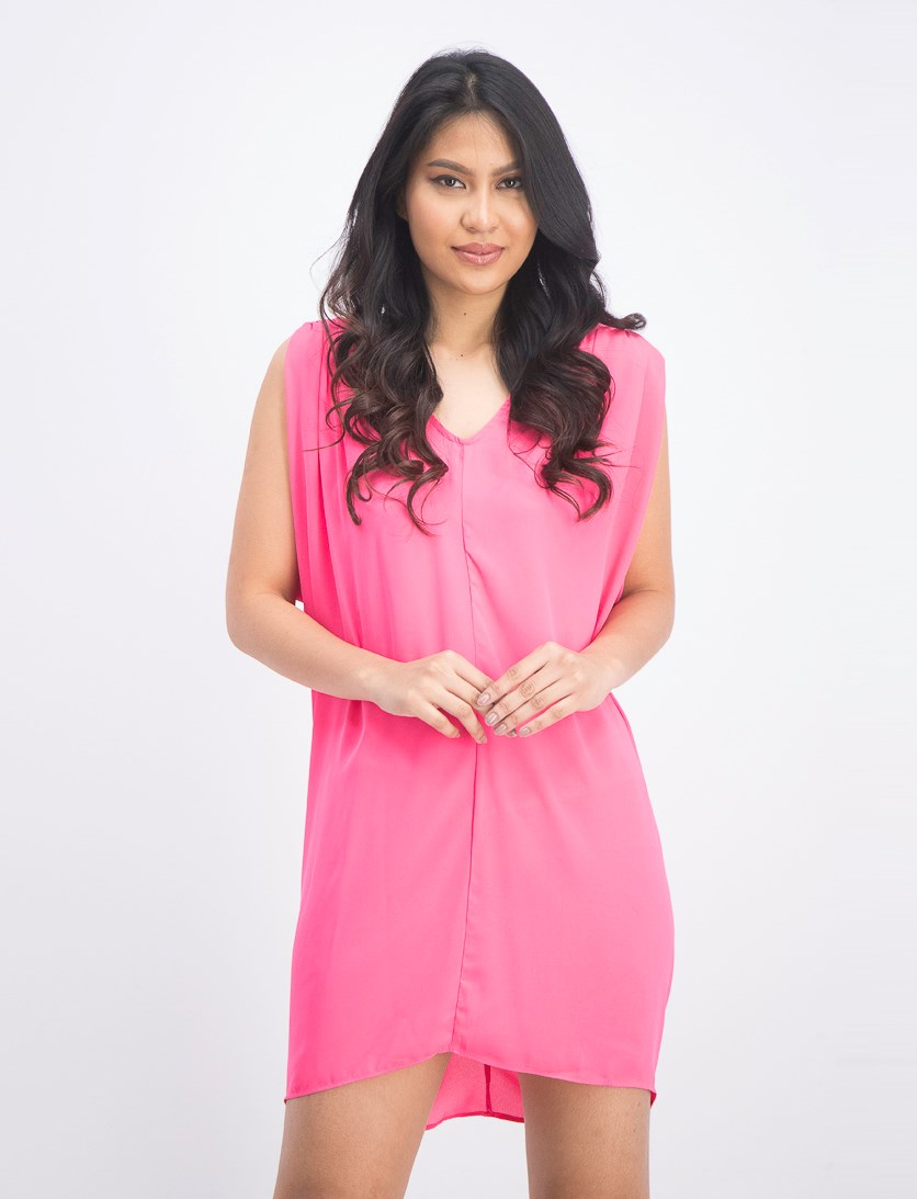Women's Plain Sleeveless Dress, Pink