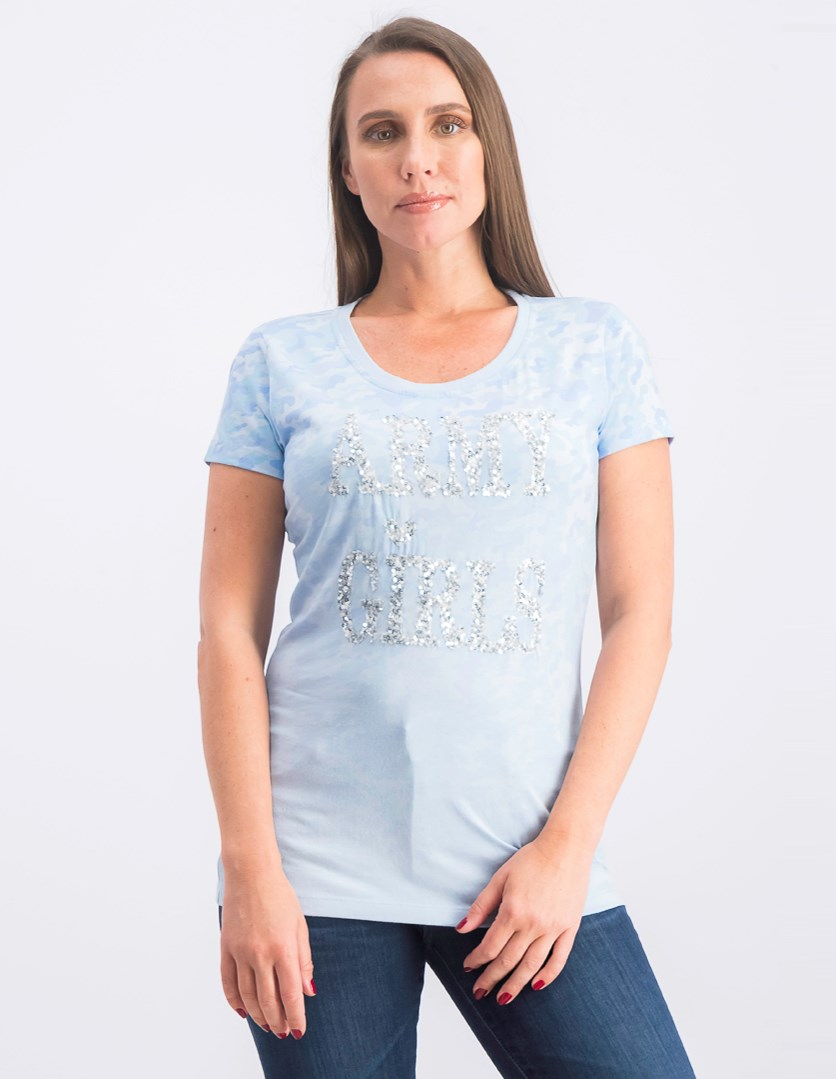 Women's Short Sleeve Graphic Top, Blue