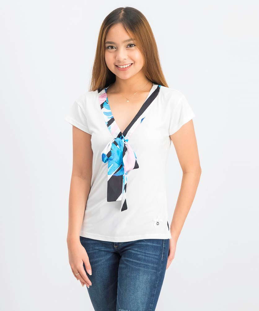 Women's Tie Tops, White/Blue Combo