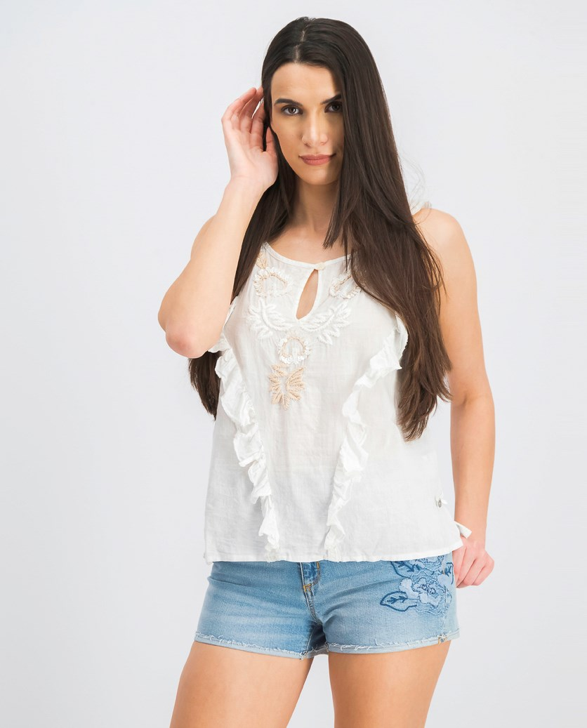 Women's Sequins Tank Top, Off White