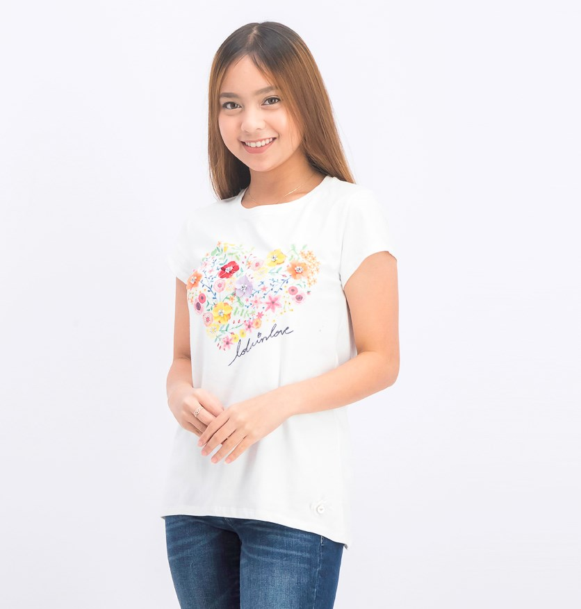 Women's Rhinestone Floral Tops, White