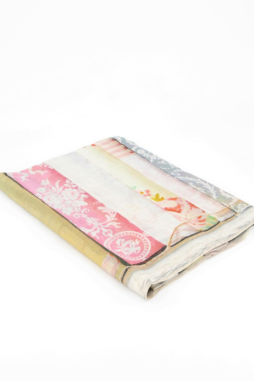 Women's Floral Scarfs, Pink/Green/White