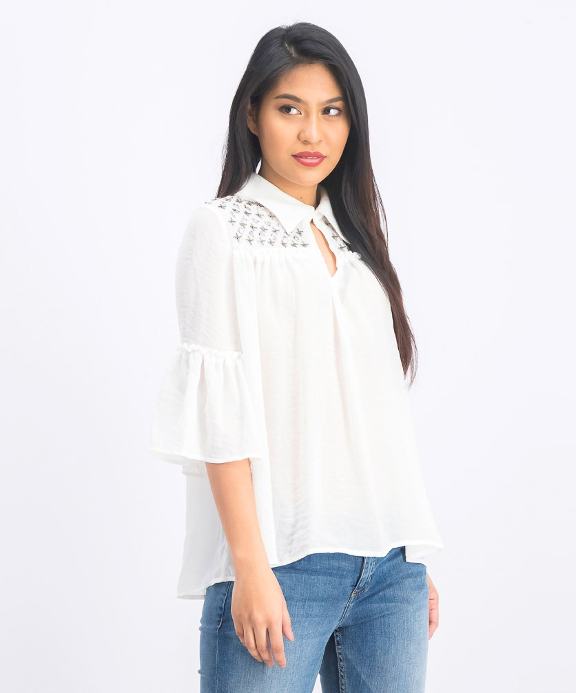 Women's Bell Sleeve Top, Off White