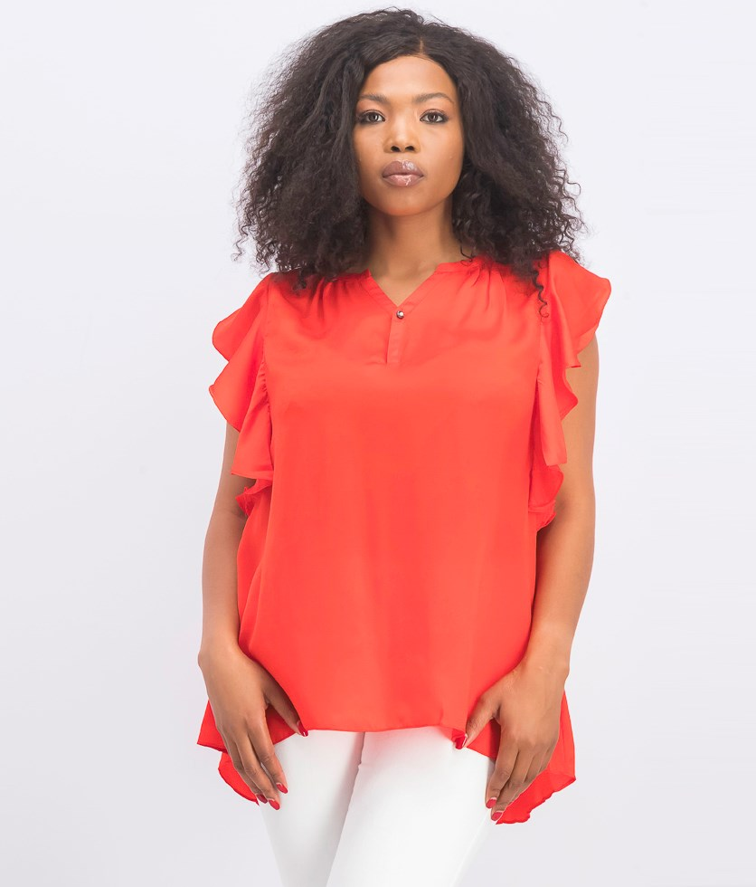 Women's Ruffle Sleeve Top, Red