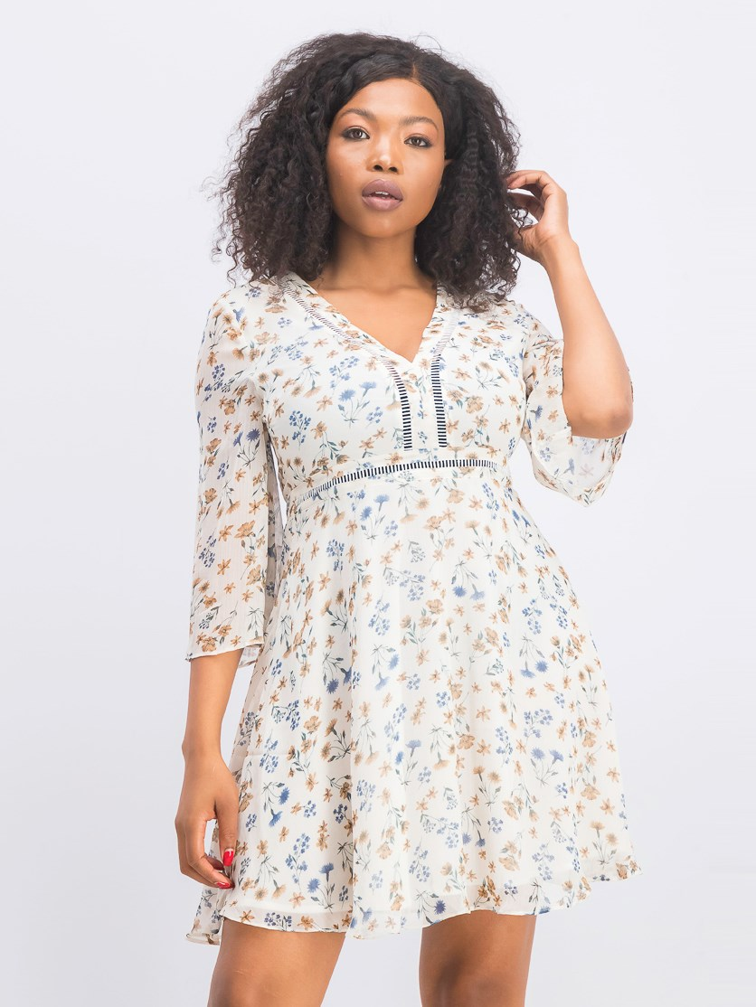 Women's Bell Sleeve Floral Dress, Beige Combo