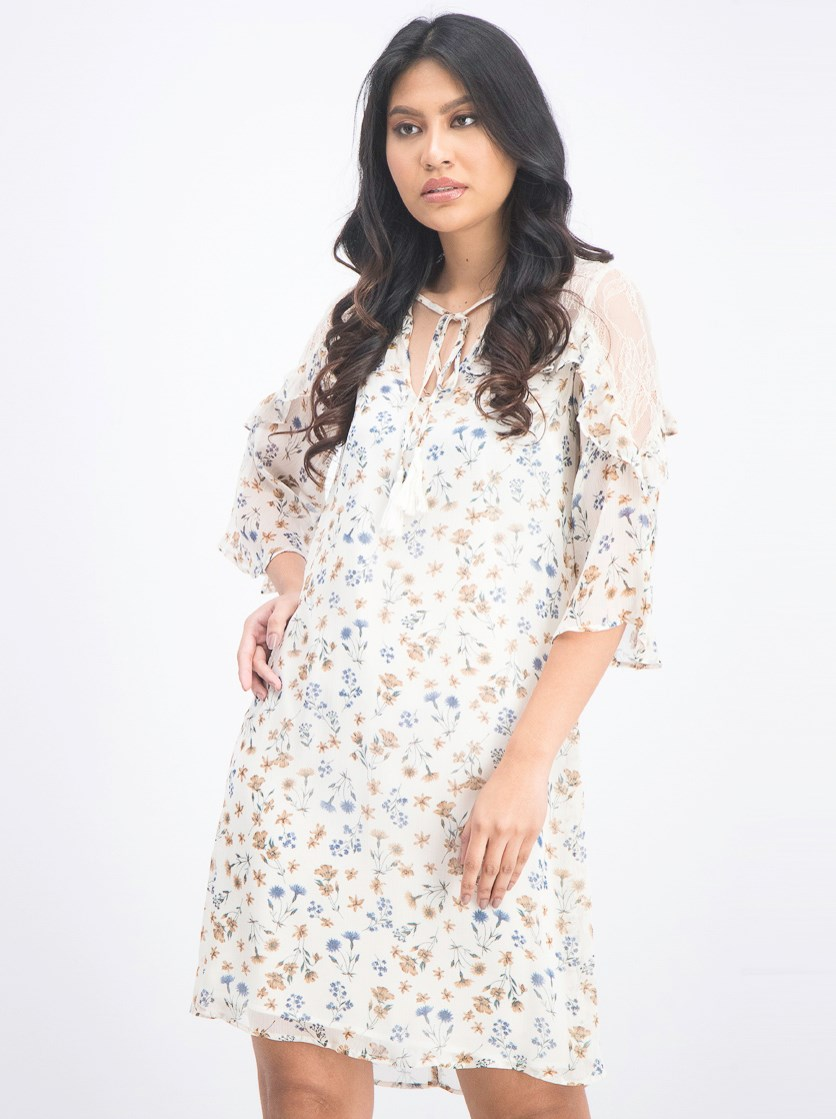 Women's Printed Dress, Ivory