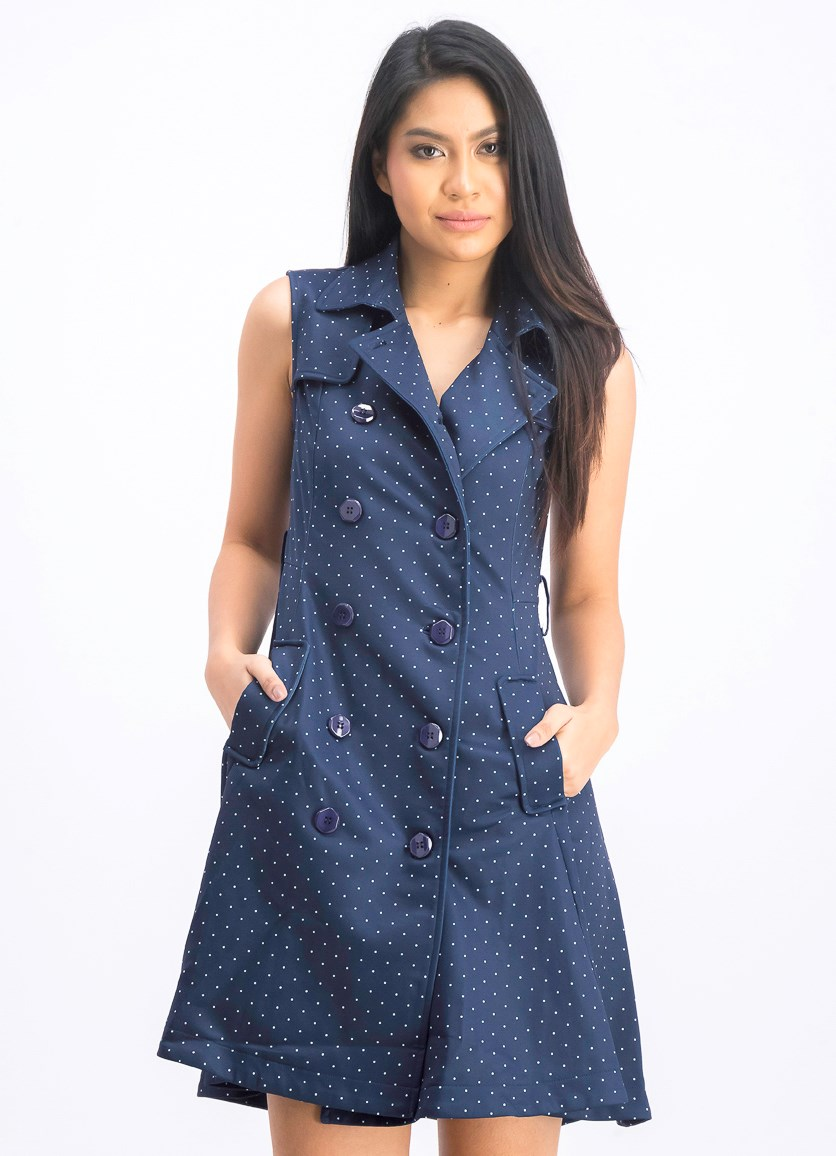 Women's Double Breasted Button Dot Print Dress, Navy
