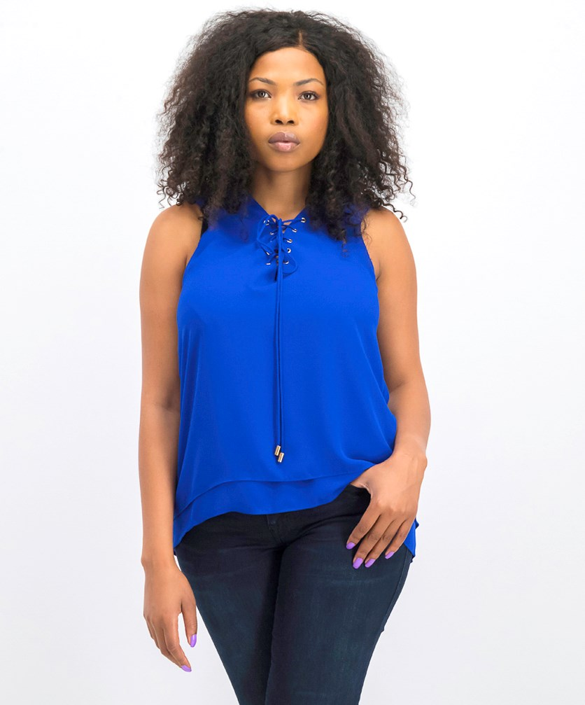 Women's Sleeveless Crisscross Top, Blue