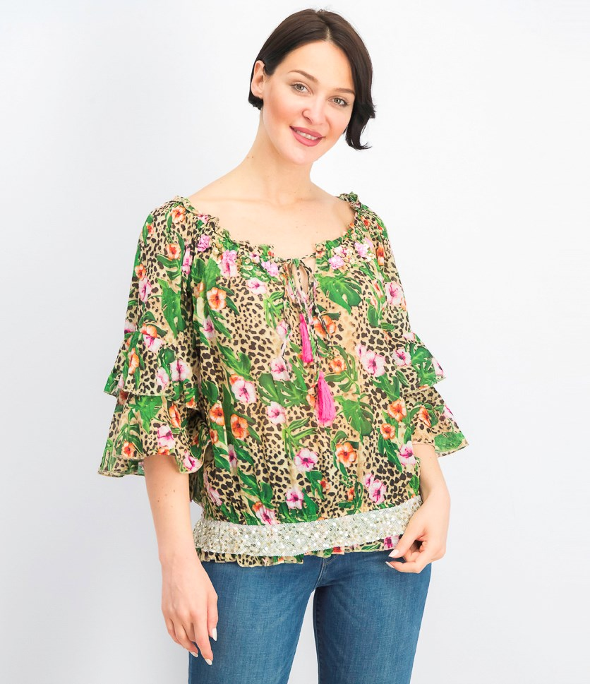 Women's Off-Shoulder Floral Tops, Green/Pink/Tan