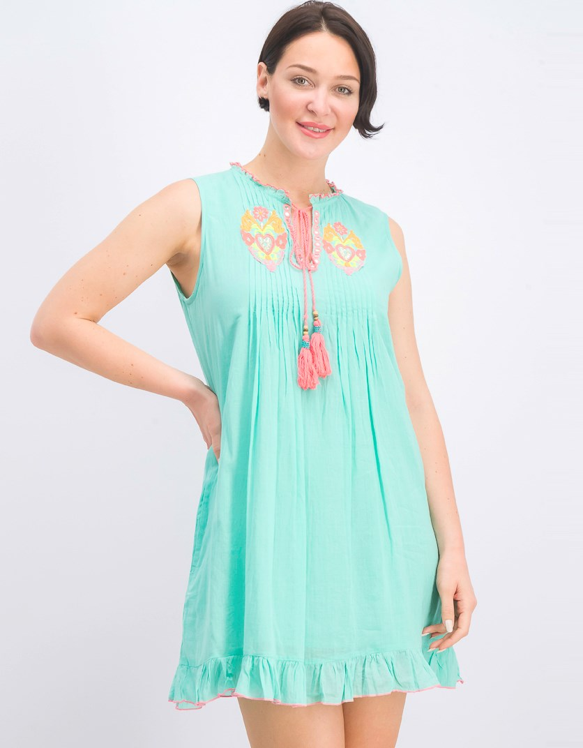 Women's Embroidered Dress, Aqua