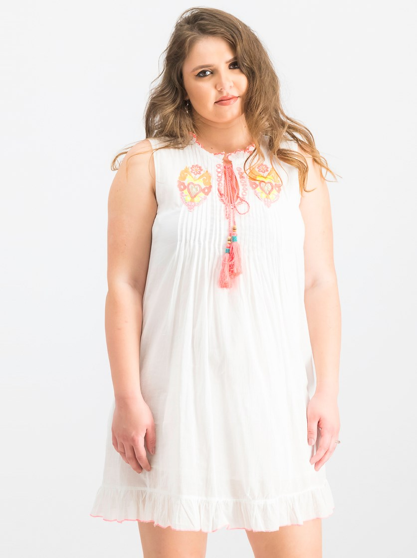 Women's Embroidered Dress, White/Orange