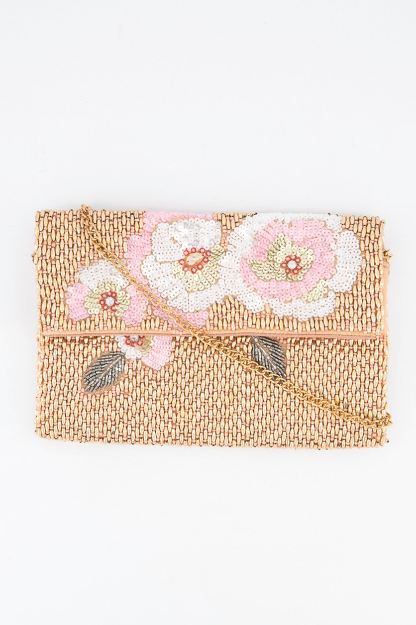 Women's Embellished Cross Body Bag, Pink/Gold