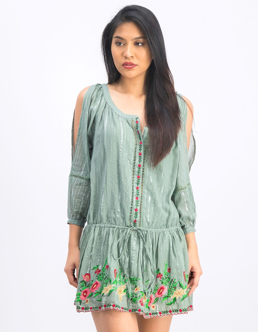 Women's Embroidered Metallic Dress, Green
