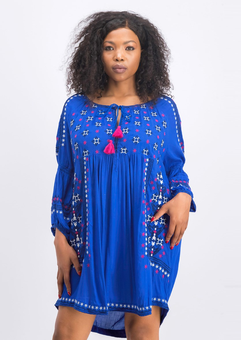 Women's Embroidered Mini Longsleeve Dress, Royal Blue