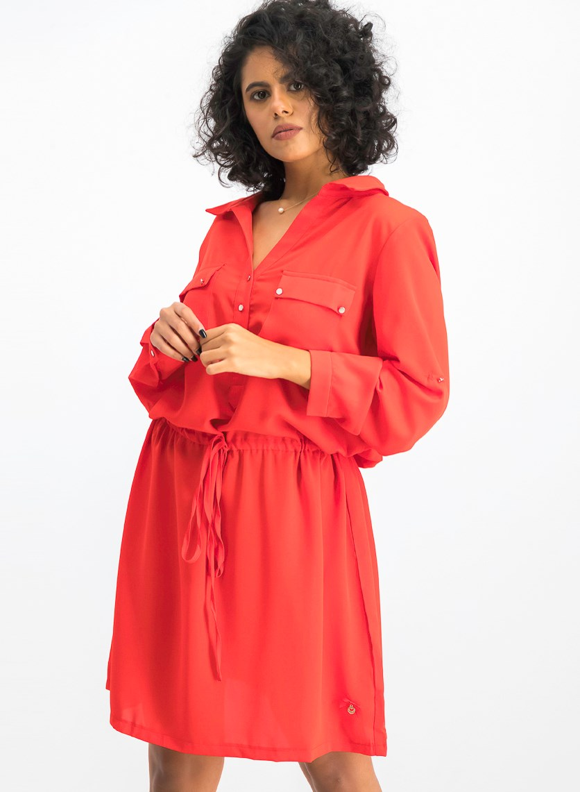 Women's Long Sleeve Shirt Dress, Red