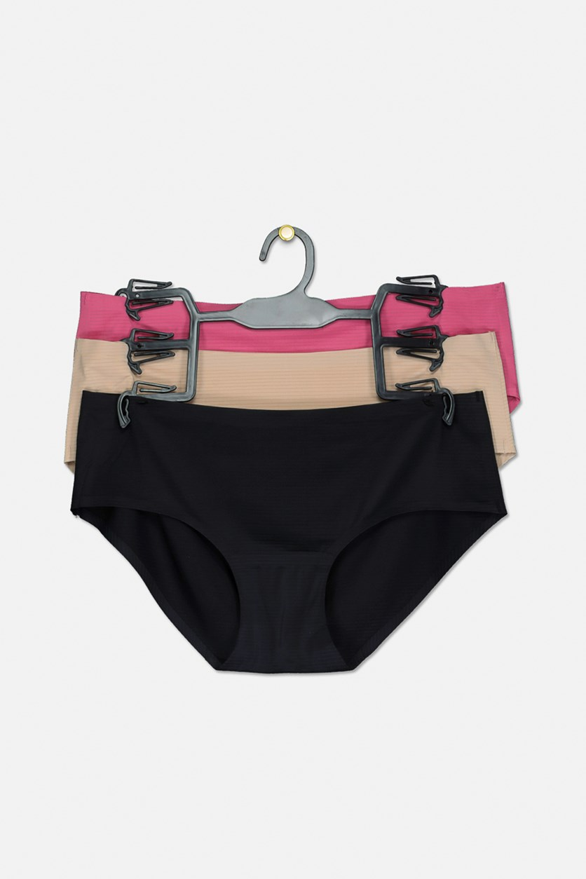 Women's Hipster  Panty Set Of 3, Fuchsia/Beige/Black