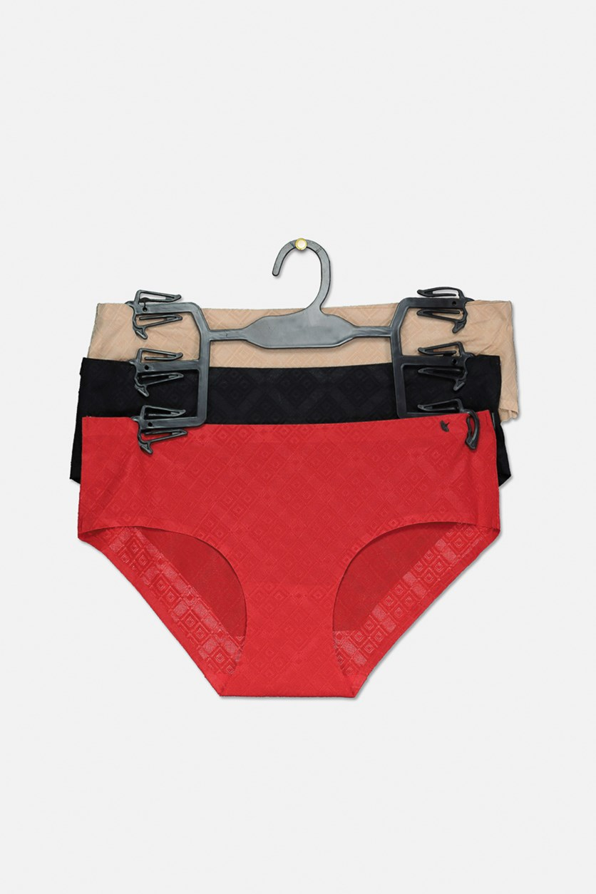 Women's Hipster Panty Set Of 3, Beige/Black/Red