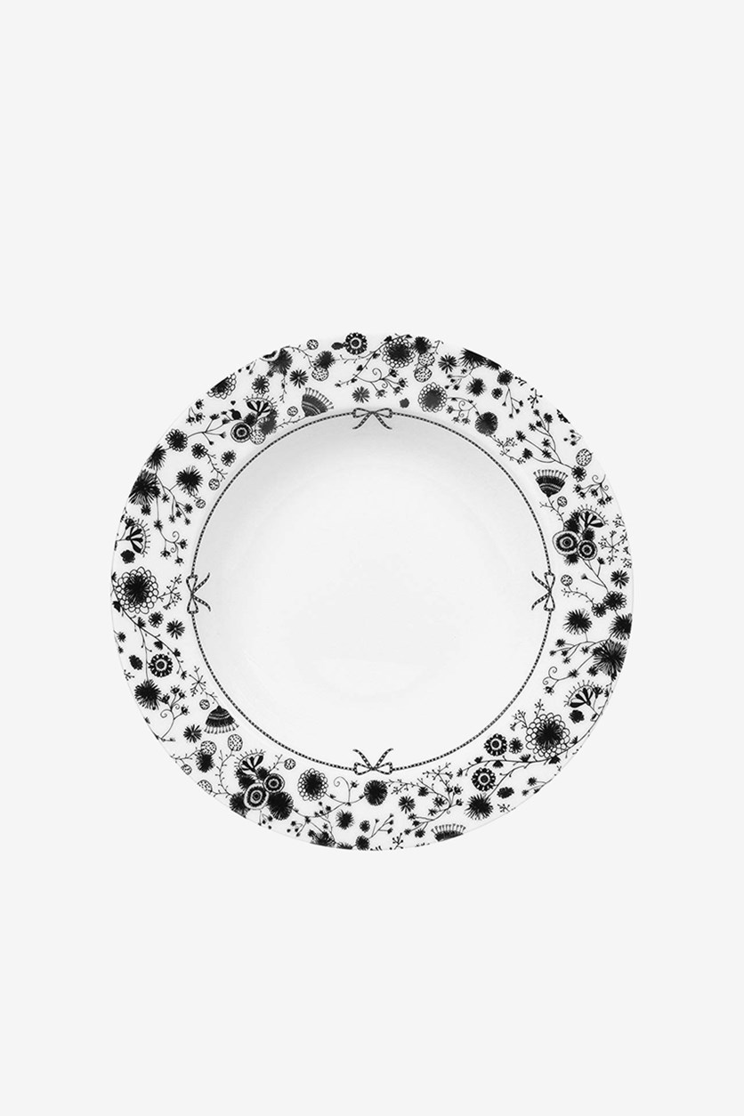 Printed Flower Soup Plate, White/Black