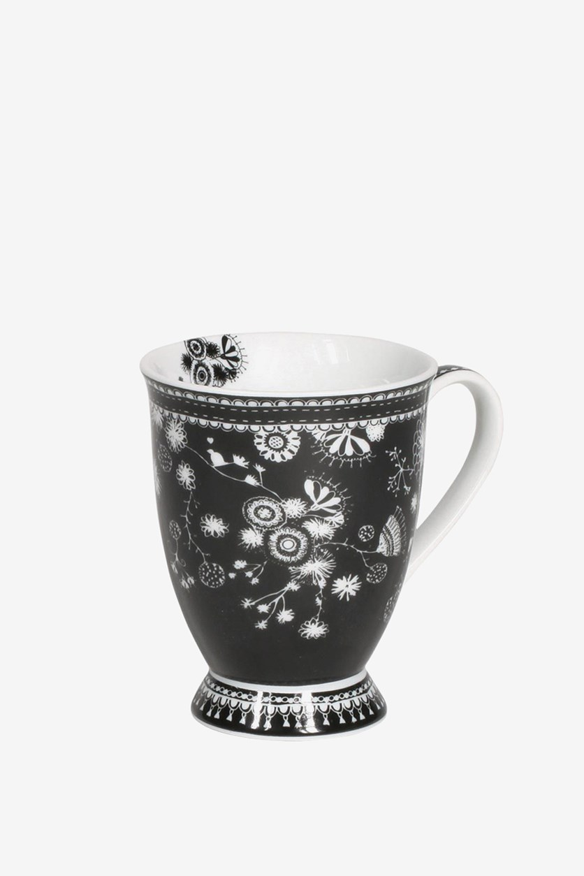 Printed Flower Large Mug, Black