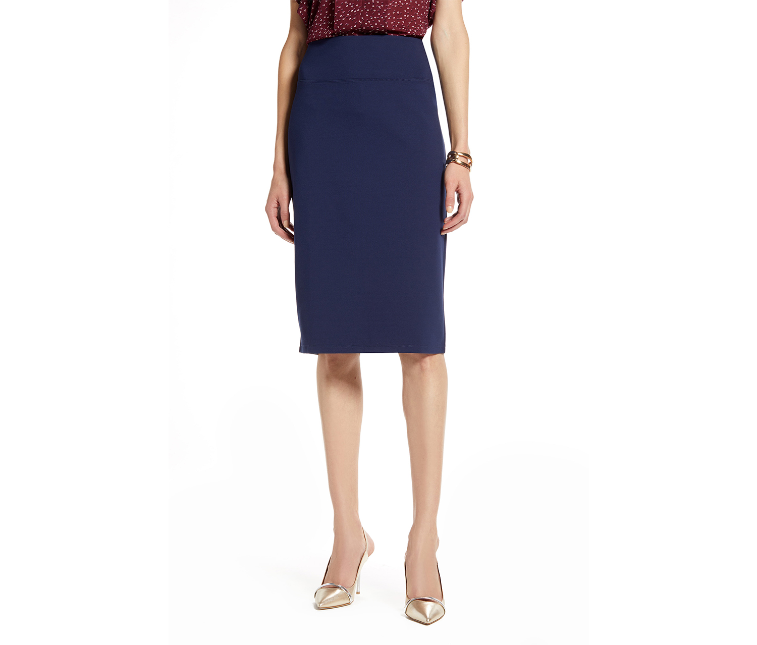 Lily White Women's Straight Pencil Stretch Skirt, Blue