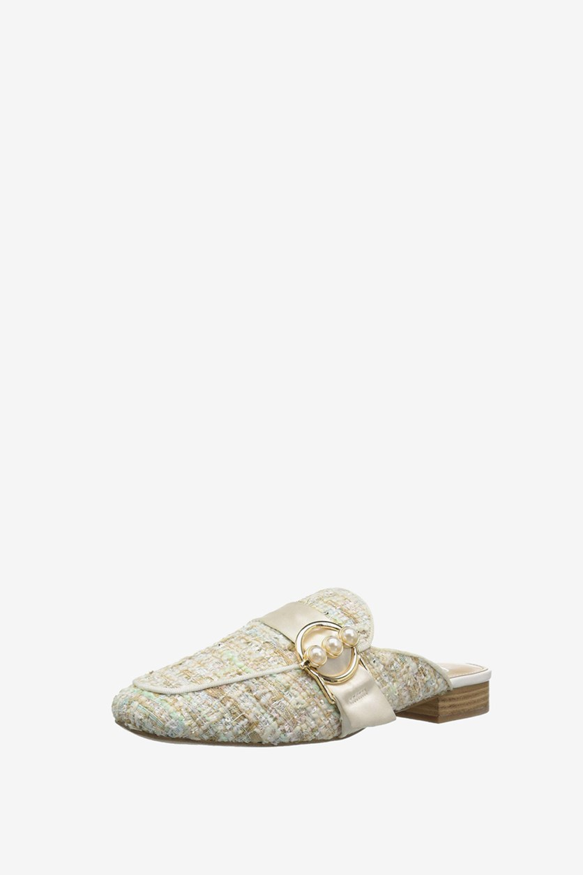 Women's Loafer Slide Pearl Buckle Mules, Bright White Combo