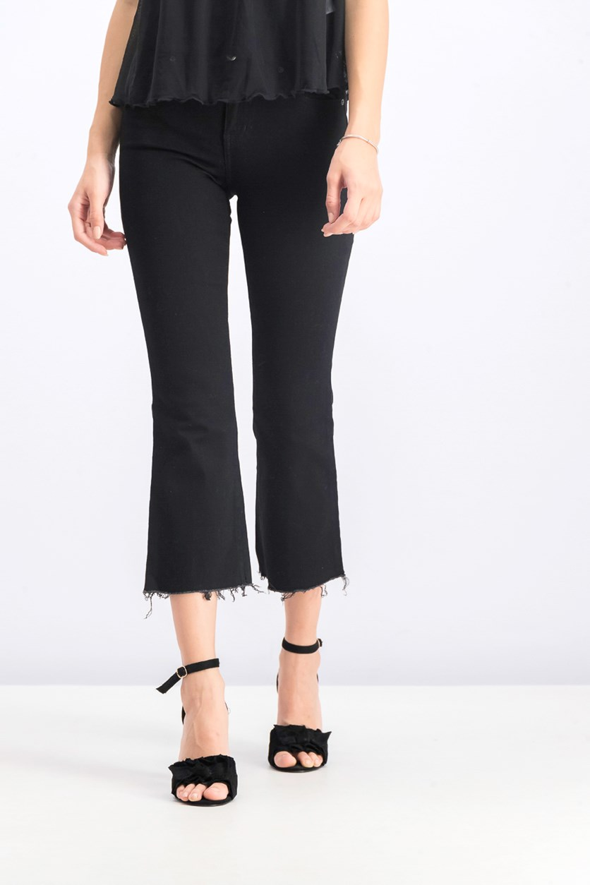 Women Cropped Jeans, Black